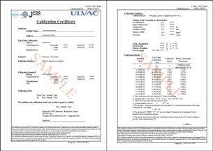Maintenace for component ulvac products for Pressure gauge calibration certificate template